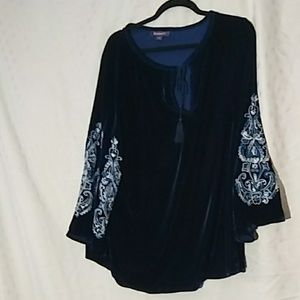 Roamans size 20 blue velvet blouse
